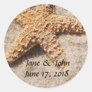 Strand-Hochzeitstarfish-Aufkleber Runder Aufkleber