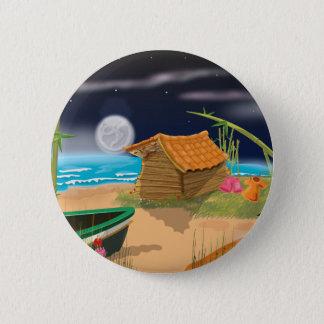 Strand-Hütte nachts Runder Button 5,7 Cm