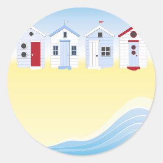 Strand-Hütten-Aufkleber Runder Aufkleber