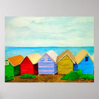Strand-Hütten Plakatdrucke