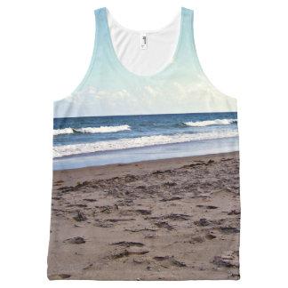 Strand in dem Ozean Komplett Bedrucktes Tanktop