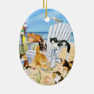 Strand-Kätzchen-Oval-Verzierung Keramik Ornament