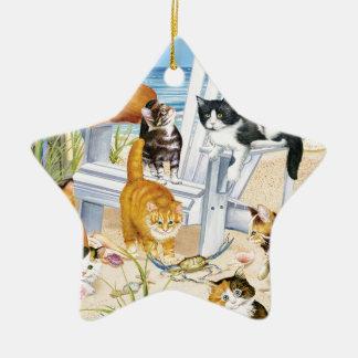 Strand-Kätzchen-Stern-Verzierung Keramik Ornament