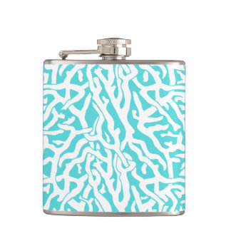 Strand-Korallenriff-Muster-weißes Nautischblau Flachmann