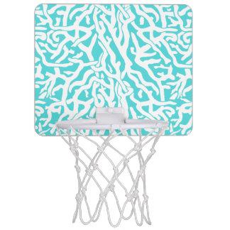 Strand-Korallenriff-Muster-weißes Nautischblau Mini Basketball Ring