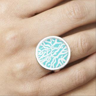Strand-Korallenriff-Muster-weißes Nautischblau Ring
