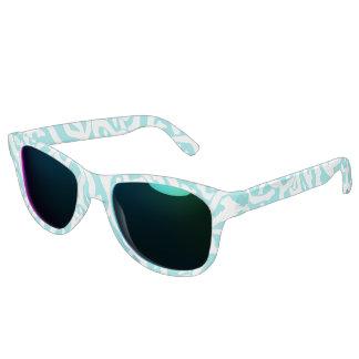 Strand-Korallenriff-Muster-weißes Nautischblau Sonnenbrille