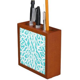Strand-Korallenriff-Muster-weißes Nautischblau Stifthalter