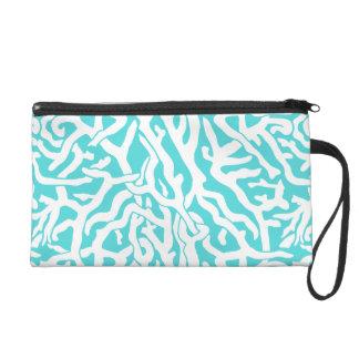 Strand-Korallenriff-Muster-weißes Nautischblau Wristlet Handtasche