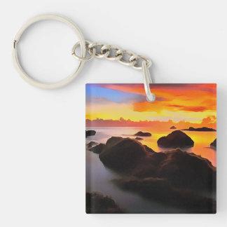 Strand-Landschaft am Sonnenaufgang Schlüsselanhänger