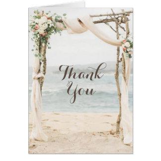 Strand-Lauben-Hochzeit danken Ihnen zu kardieren Karte