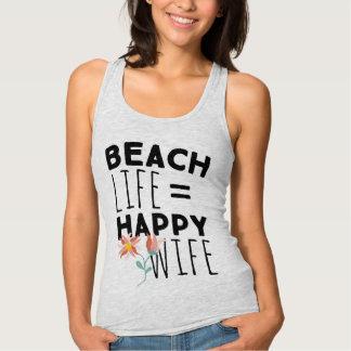 Strand-Leben-glückliche Ehefrau-Behälter-Spitze Tank Top