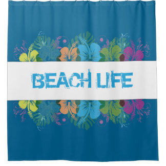 Strand-Leben-Hibiskus-Muster Duschvorhang