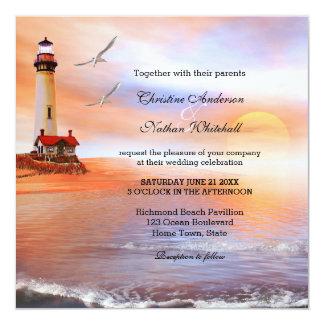 Strand-Leuchtturm-Hochzeits-Einladung Quadratische 13,3 Cm Einladungskarte