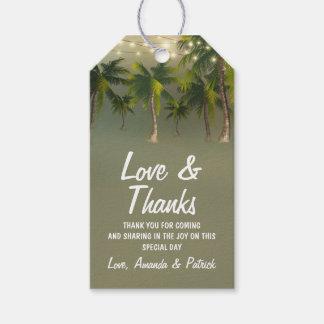 Strand-Licht-Palme-tropische Hochzeit danken Ihnen Geschenkanhänger