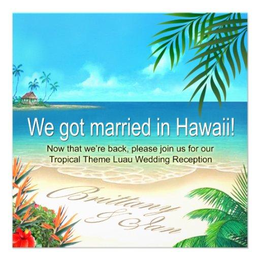 Strand Luau Hawaii Empfang erhalten Namen im Sand Personalisierte Einladungen