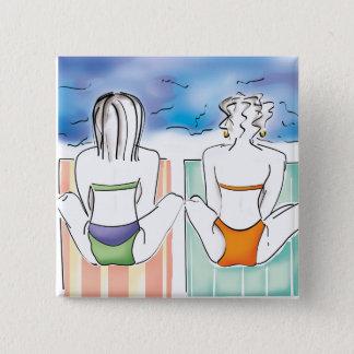 Strand-Mädchen Quadratischer Button 5,1 Cm