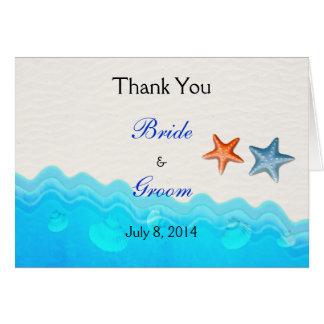 Strand mit Starfish-Hochzeit danken Ihnen Karte