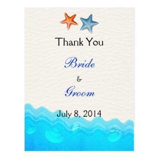 Strand mit Starfish-Hochzeit danken Ihnen Postkarte