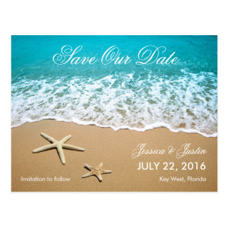 Strand mit Starfish-Save the Date Karte