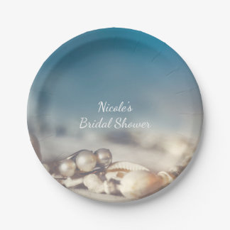 Strand-Muscheln u. Perlen-Schmuck-elegantes Pappteller