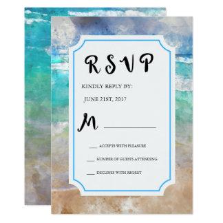 Strand oder tropisches Inselwatercolor-Hochzeit Karte