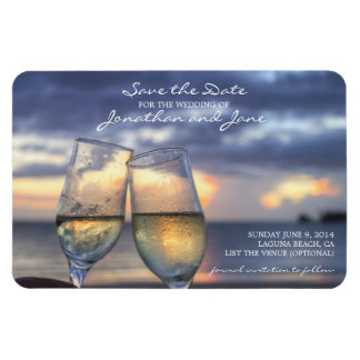 Strand-Ozean, der Save the Date Champagne-Glas Magnet