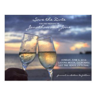 Strand-Ozean, der Save the Date Champagne-Glas Postkarte