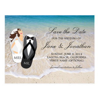 "Strand-Ozean ""Herr und Frau"", die Save the Date Postkarte"