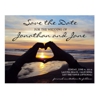 Strand-Ozean-Liebe-Herz, das Save the Date Wedding Postkarte