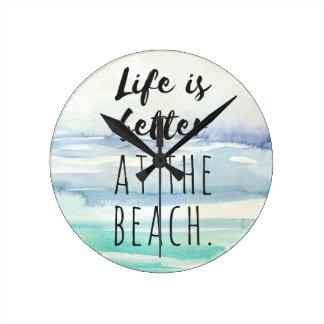 Strand-Ozean-themenorientierte Dekor-Aquarell-Uhr Runde Wanduhr