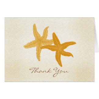 Strand-Ozeanstarfish-Paare danken Ihnen Karte
