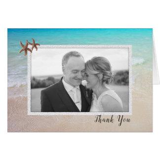 Strand-Paar-Foto-Hochzeit danken Ihnen Karte