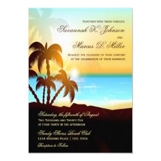 Strand-Palme-Hochzeit in Urlaubsorts-Einladungen Karte