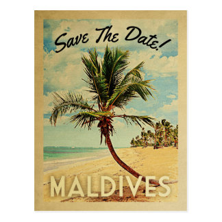 Strand-Palme Malediven Save the Date Vintage Postkarte