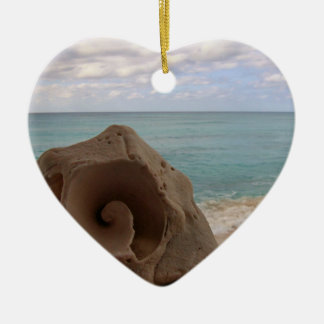 Strand-Paradies des Seashell-| Keramik Herz-Ornament