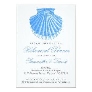 Strand-Proben-Abendessen-Kamm-Muschel-Muschel-Blau 12,7 X 17,8 Cm Einladungskarte