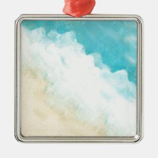Strand Quadratisches Silberfarbenes Ornament