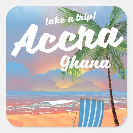 Strand-Reiseplakat Accras Ghana Quadratischer Aufkleber