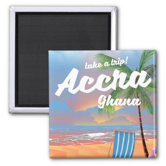 Strand-Reiseplakat Accras Ghana Quadratischer Magnet