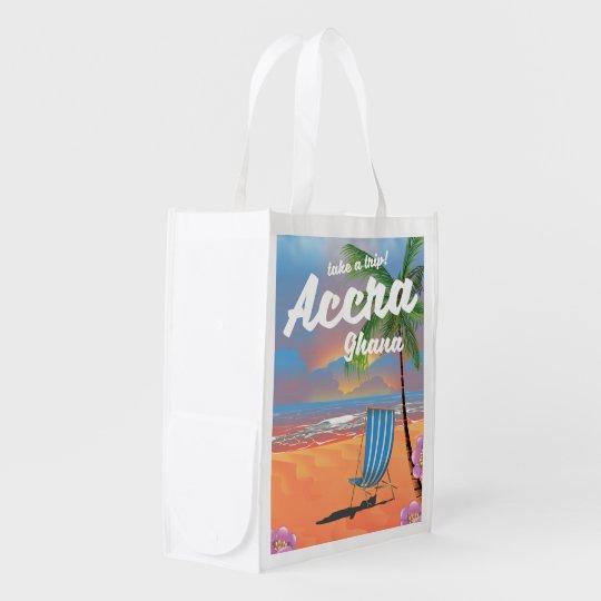 Strand-Reiseplakat Accras Ghana Wiederverwendbare Einkaufstasche