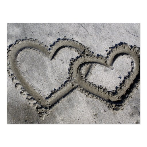Strand-Sand-Herzen Postkarte