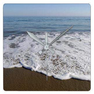 Strand/Sand/Wellen Quadratische Wanduhr