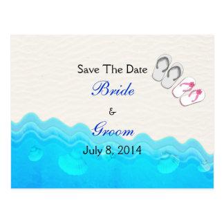 Strand-Sandelholze, die Save the Date Wedding sind Postkarte