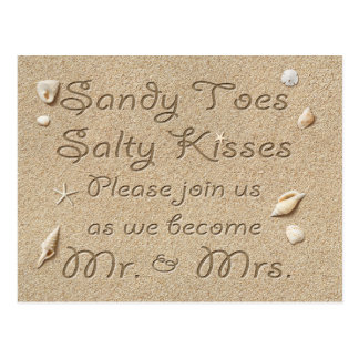 Strand Sandy Toes salzige Küsse Save the Date Postkarte