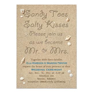 Strand Sandy Toes salzige Küsse Wedding Einladung 12,7 X 17,8 Cm Einladungskarte