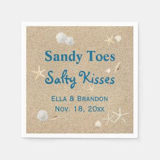 Strand Sandy Toes salzige Küsse Wedding Serviette Serviette