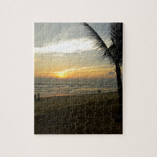Strand-Sonnenaufgang mit Palme Puzzle