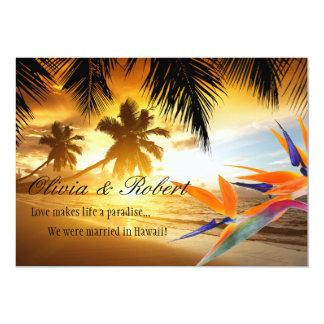 Strand-Sonnenuntergang-Palme-Paradiesvogel den 12,7 X 17,8 Cm Einladungskarte