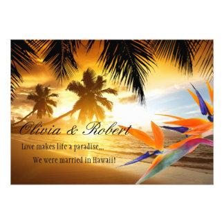 Strand-Sonnenuntergang-Palme-Paradiesvogel den Individuelle Ankündigskarten